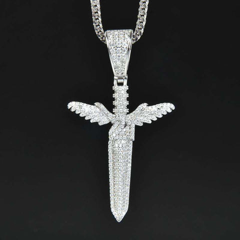 18K white Gold S925 Silver Wings Sword Pendant