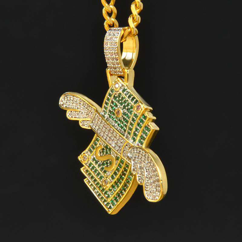 18K Gold Finish Money With Wings Pendant
