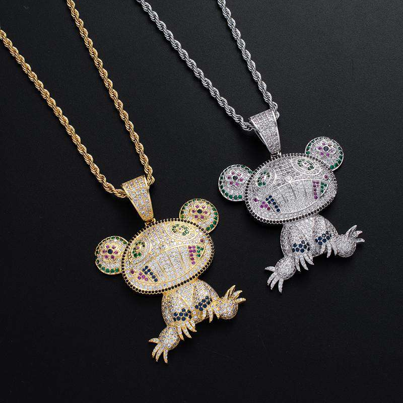 18K White Gold Multi-color Iced Takashi Murakami Panda Pendant