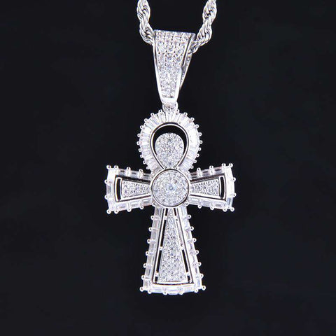 18K White Gold Finish S925 Silver Egyptian Ankh Cross Pendant