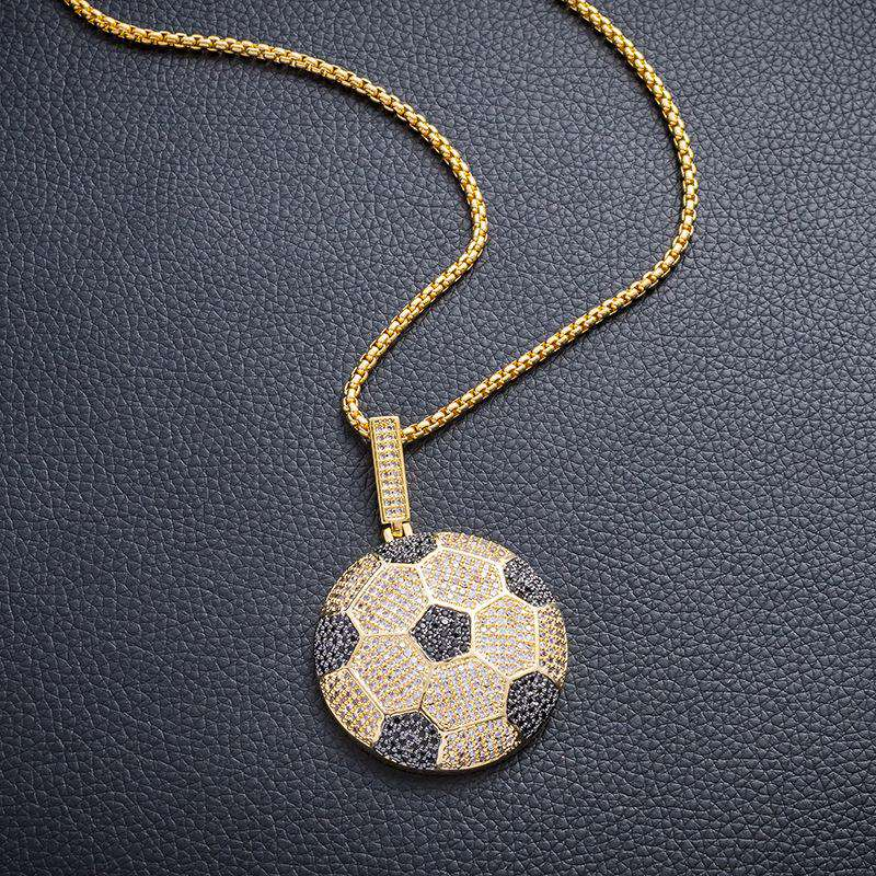 Iced Soccer Ball Pendant in 18K Yellow Gold
