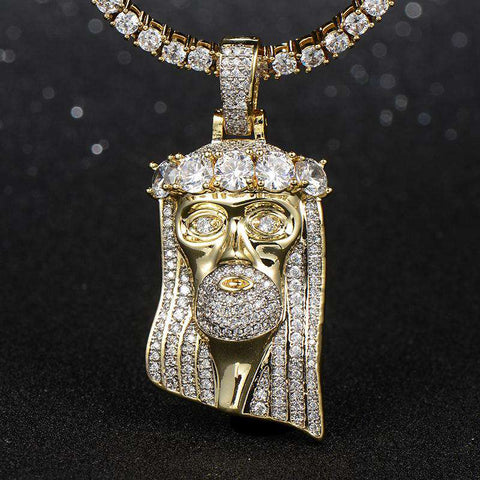 18K Yellow Gold King Mustache And Hair Iced Jesus