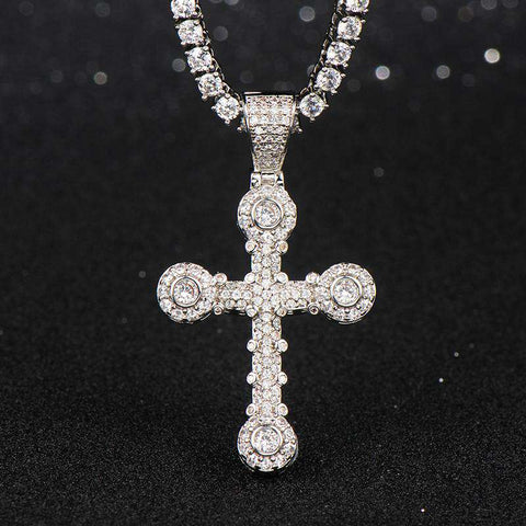 18K White Gold Finish S925 Silver Latin Cross Pendant