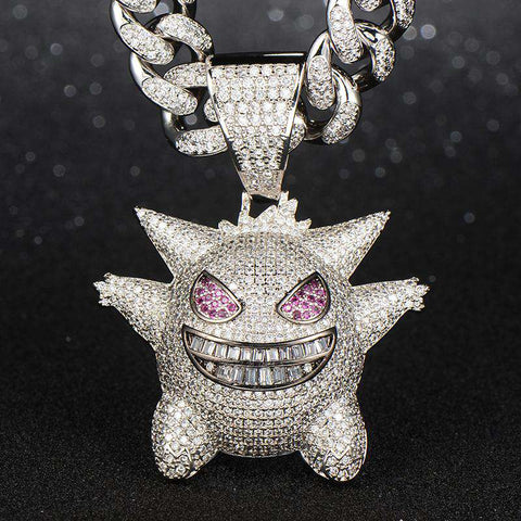 18K White Gold Finish S925 Silver Iced Gengar Pendant