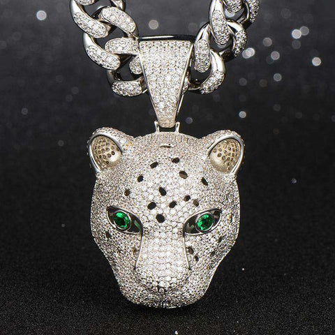 18K White Gold Finish S925 Silver Leopard Pendant
