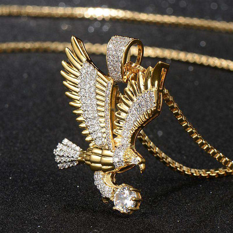 18K Gold Finish S925 Silver Flying Eagle Pendant