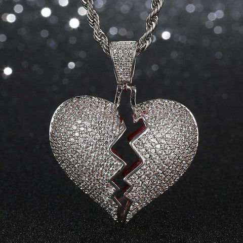 18K White Gold Iced Broken Heart