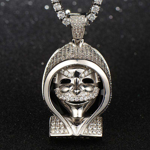 18K White Gold Finish Mr. Robot Mask Pendant
