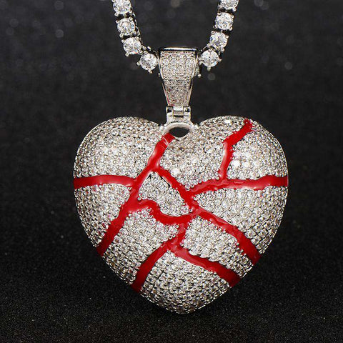 18K White Gold Iced cracked heart