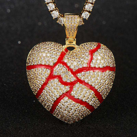 18K Yellow Gold Finish S925 Silver Iced cracked heart