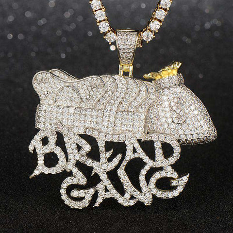 18K White Gold Bread Gang Pendant