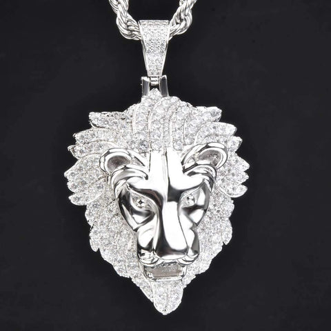Iced Lion Pendant in White Gold