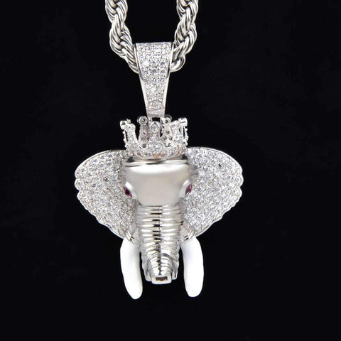 Iced Elephant Pendant in White Gold