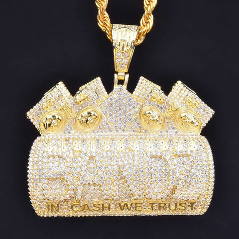 "Iced BANDZ ""In Cash We Trust"" Pendant in Gold"
