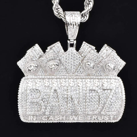 "Iced BANDZ ""In Cash We Trust"" Pendant in White Gold"