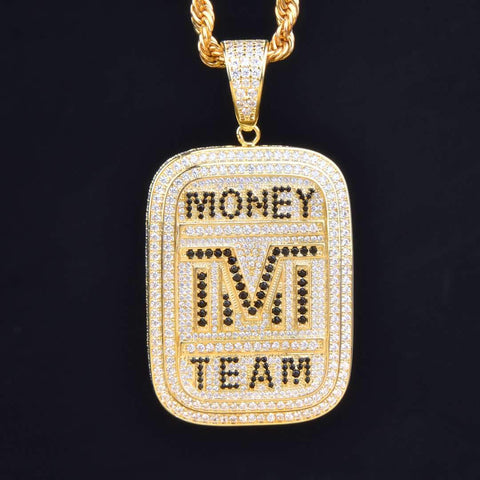 Money Team Dog Tag Pendant in Gold