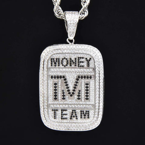 Money Team Dog Tag Pendant in White Gold