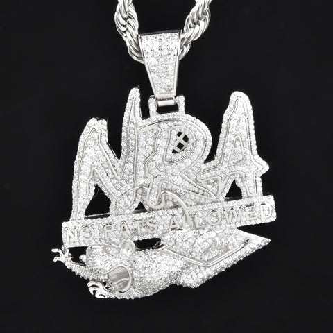 "Iced Out ""No Rats Allowed"" Pendant in White Gold"