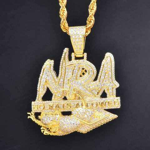 "Iced Out ""No Rats Allowed"" Pendant in Gold"