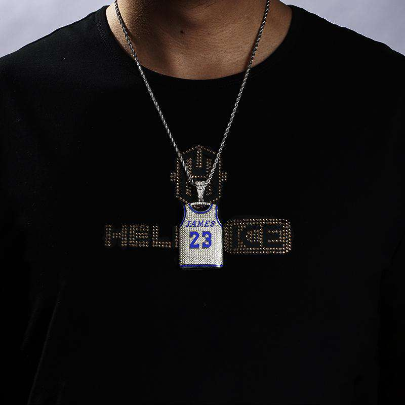 18K White Gold Iced James 23 Jersey Pendant