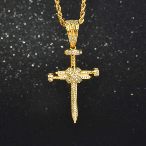 18K Yellow Gold Finish S925 Silver  Nail Cross Pendant & 3mm Rope Chain