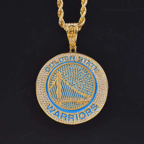 18K Gold Finish S925 Silver Golden State Warriors Pendant