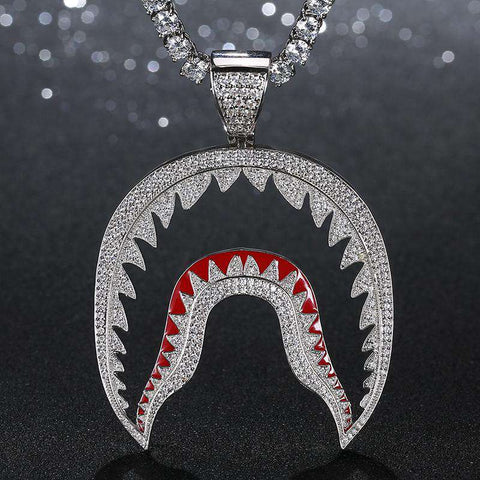 18K White Gold Iced Bathing APE BAPE Shark Pendant