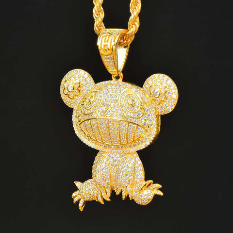 18K Yellow Gold Iced  frog pendant