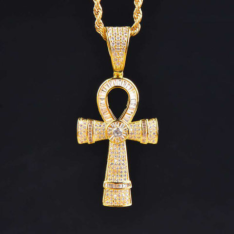 18K Gold Finish S925 Silver Round & Baguette Iced Ankh Cross Pendant