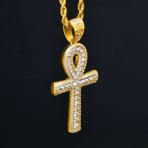 18K Gold Finish S925 Silver Round Iced Ankh Cross Pendant