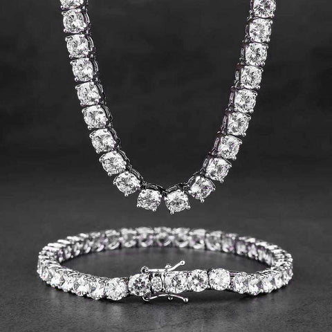 5mm 18K White Gold Single Row Tennis Chain and Bracelet Set