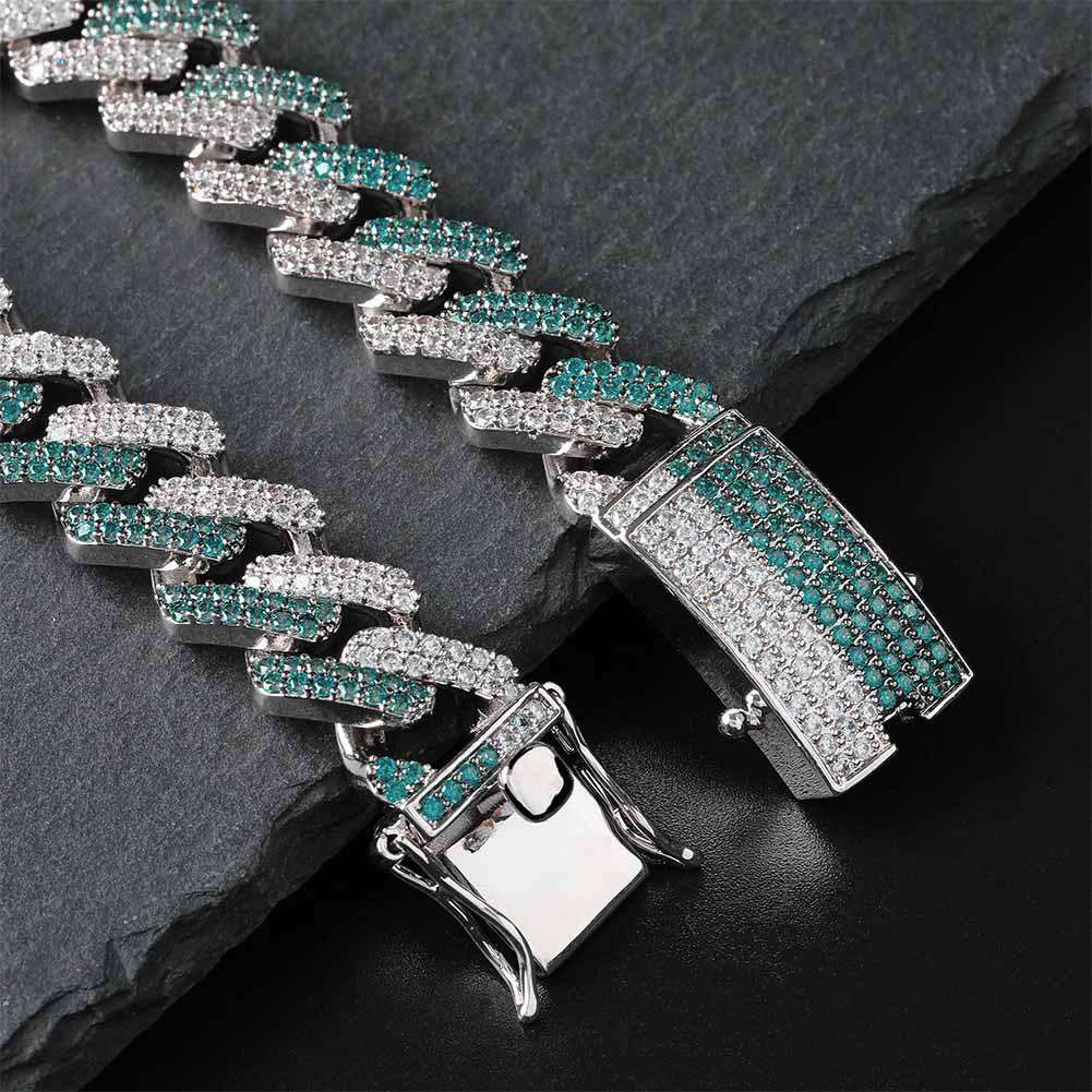 14mm Iced Two Tone Cuban Bracelet-Mint Green&Silver