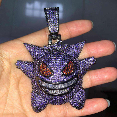 18K Black Gold Finish Purple Iced Gengar Pendant