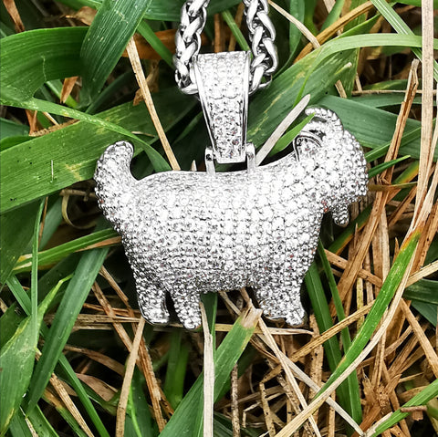 18K White Gold Finish S925 Silver Iced Goat Pendant