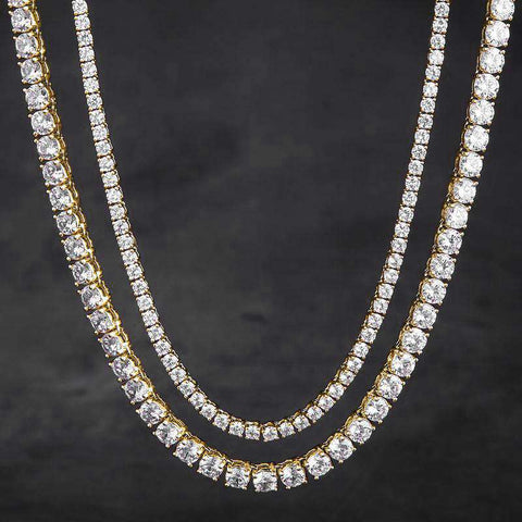 3mm 18K Gold Tennis Chain + 5mm Tennis Chain Set