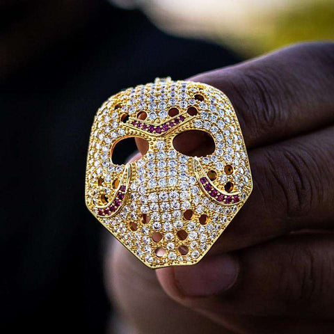 18K Yellow Gold Finish S925 Silver Friday The 13th Jason Mask