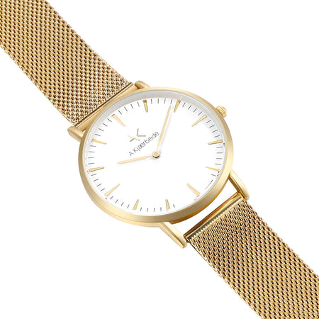 Essential Watch - Gold/White/Gold Mesh - Audace Copenhagen