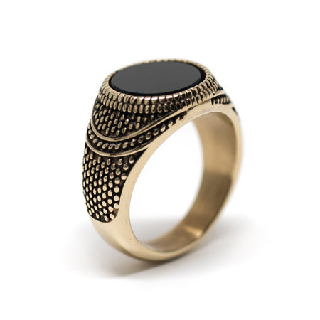 Simon Ring – Gold Black Stone - Audace Copenhagen