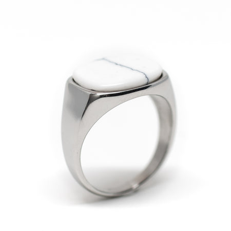 Himsel Ring – Silver White Marble - Audace Copenhagen