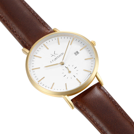 Eldwyn Watch - Mattgold/white/brown leather - Audace Copenhagen