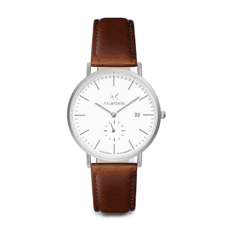 Eldwyn Watch - Matt Silver/White/Brown Leather - Audace Copenhagen