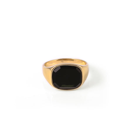 Himsel Ring – Gold - Square Black Onyx Stone - Audace Copenhagen