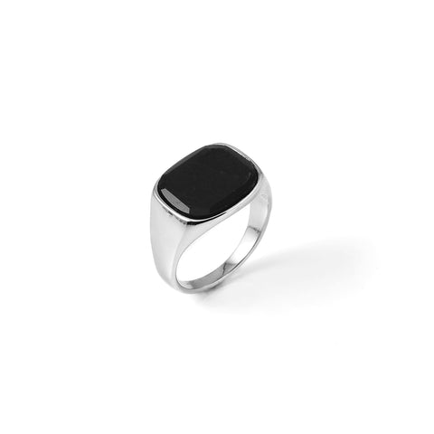 Himsel Ring – Silver - Square Black Onyx Stone