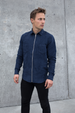 Leon Faux Suede Shirt - Navy Blue