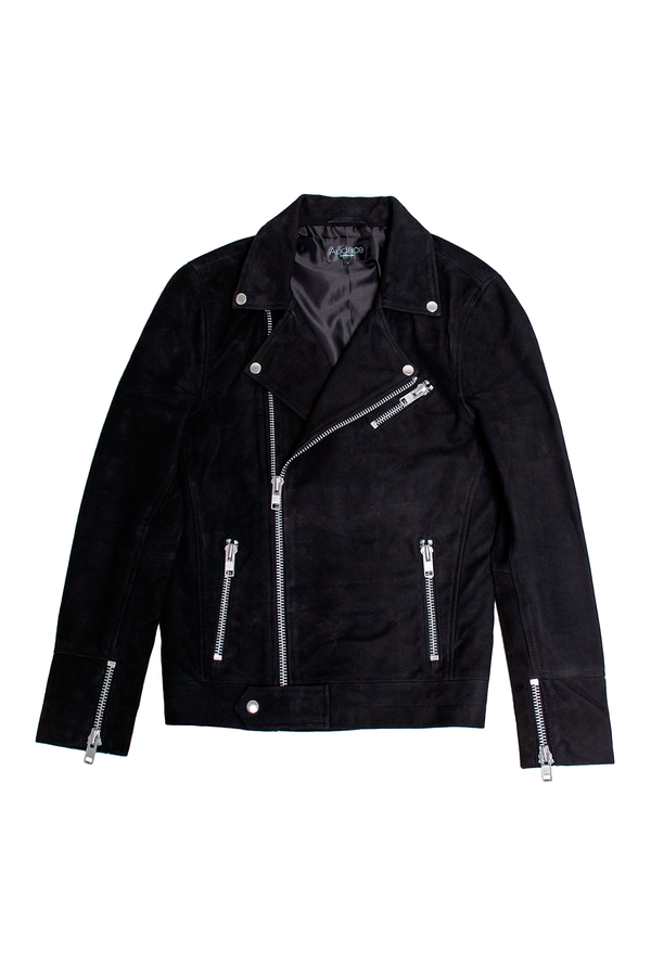 Milan - Suede Leather Jacket - Black