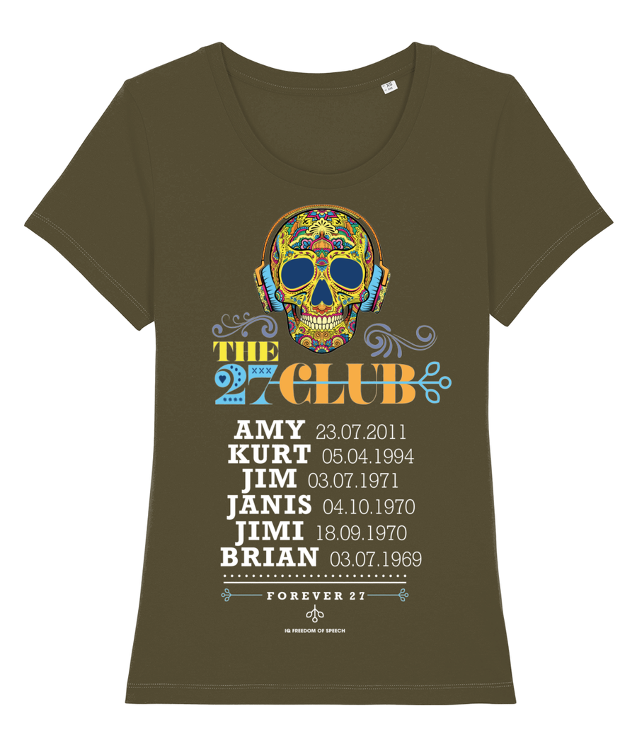 THE 27 CLUB - SKULL WEARING HEADPHONES - WOMEN'S T-SHIRT