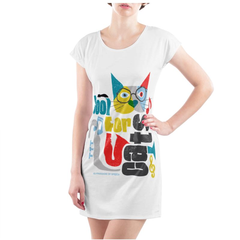 COOL FOR CATS LADIES TUNIC T SHIRT DESIGN 1