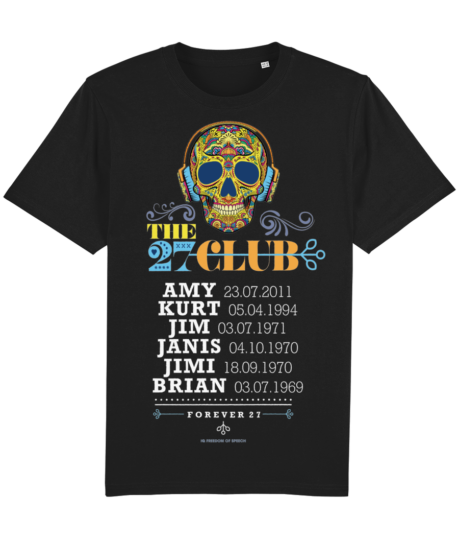 The 27 Club - Day of the Dead Skull Wearing Headphones - T-Shirt