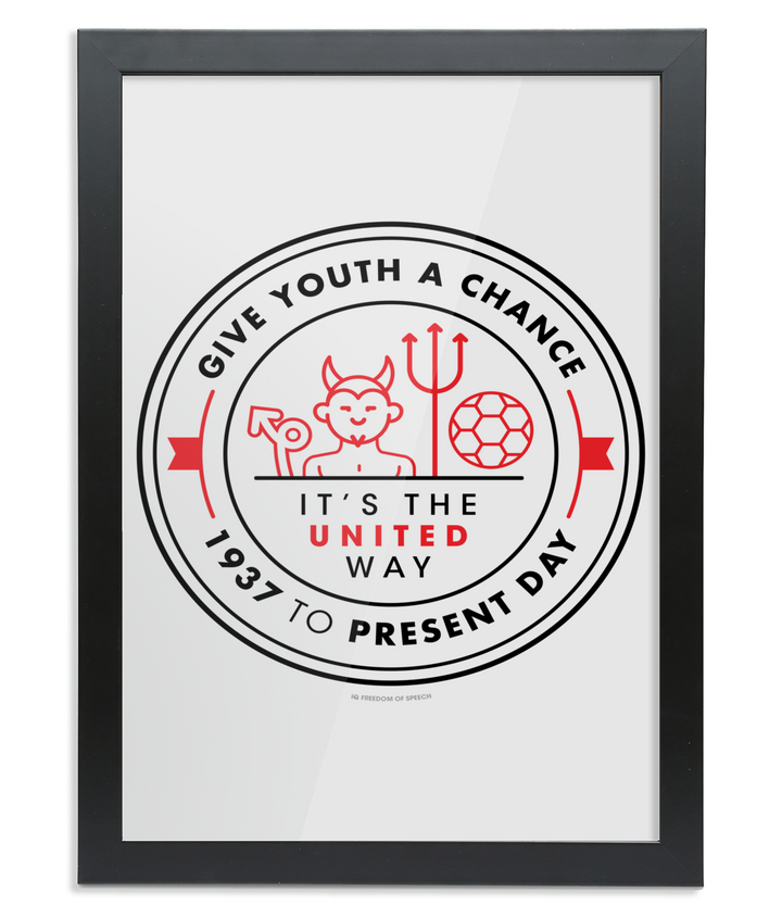 Give Youth a Chance. It's the United Way - A4 Framed Print