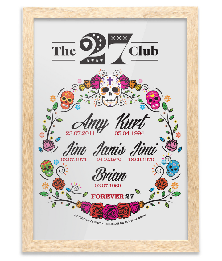 The 27 Club - Day of the Dead Circle of Flowers - Oak Framed A3 Print